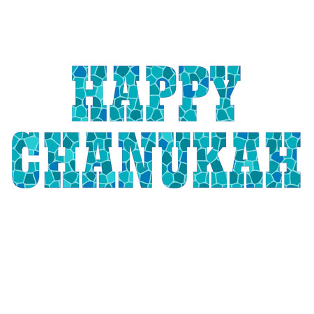 happy chanukah typography with mosaic texture