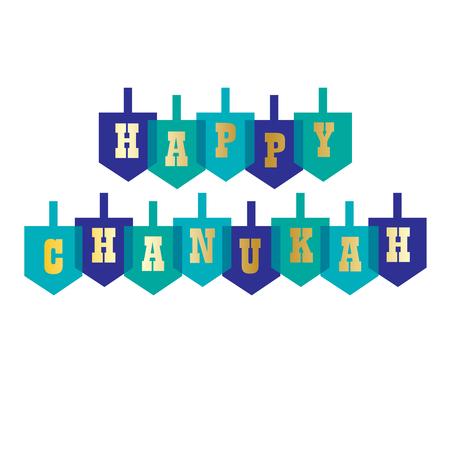 happy chanukah typography with dreidels