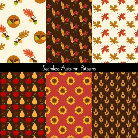 seamless autumn patterns 向量圖像