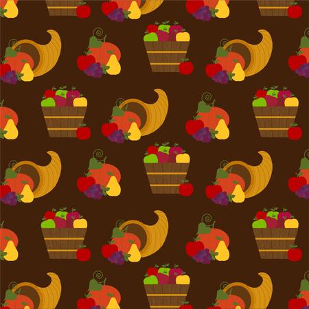 autumn fruit and cornucopia pattern 向量圖像