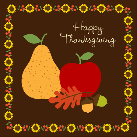 Happy Thanksgiving with with fruit and sunflower border vector illustration. Çizim