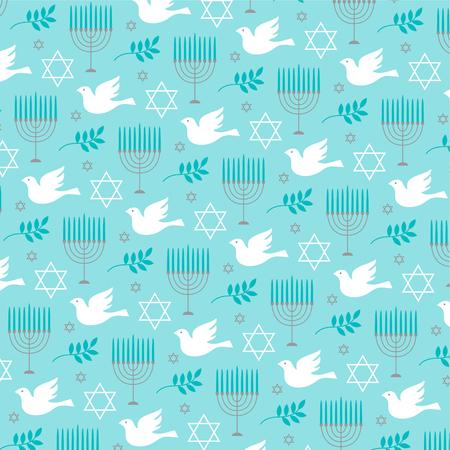 A Chanukah menorah and dove pattern vector illustration.