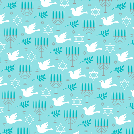 A Chanukah menorah and dove pattern vector illustration.