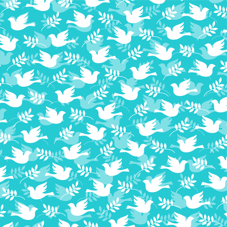 A dove and olive branch pattern vector illustration.