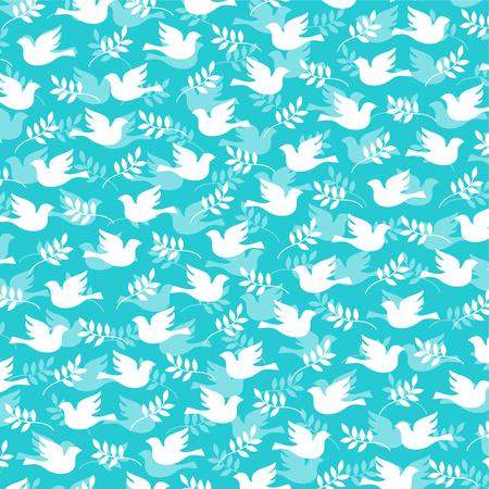 Een duif en olijf tak patroon vector illustratie.