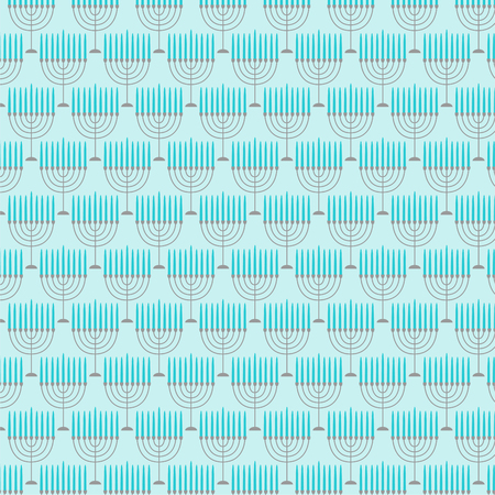 A light blue menorah pattern vector illustration.
