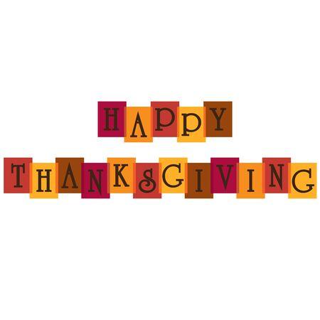Feliz tipografía de acción de gracias en colores superpuestos.