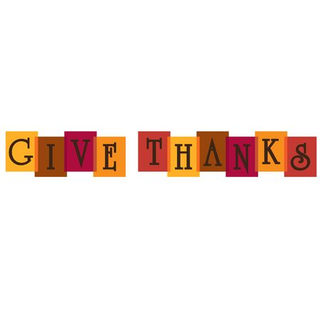 Give thanks typography on overlapping colors.