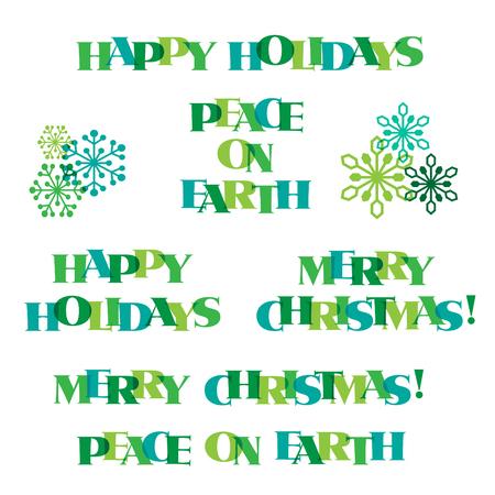 ターコイズ ブルー グリーン クリスマス タイポグラフィとスノーフレーク グラフィック  イラスト・ベクター素材