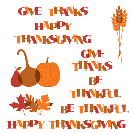 Thanksgiving typography graphics and icons Illustration