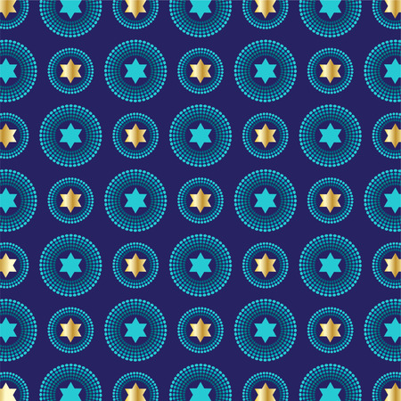 mod blue gold jewish star background pattern