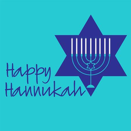 Hannukah menorah graphic with blue star.