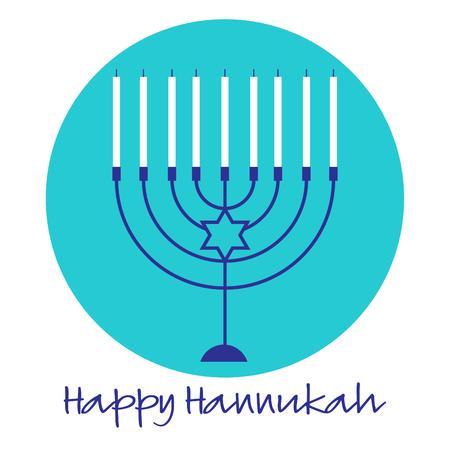Hannukah menorah graphic on turquoise blue circle Illustration