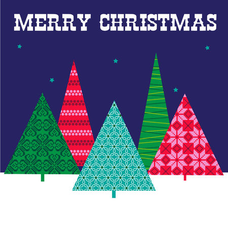 Christmas trees vector graphic with patterned trees scene