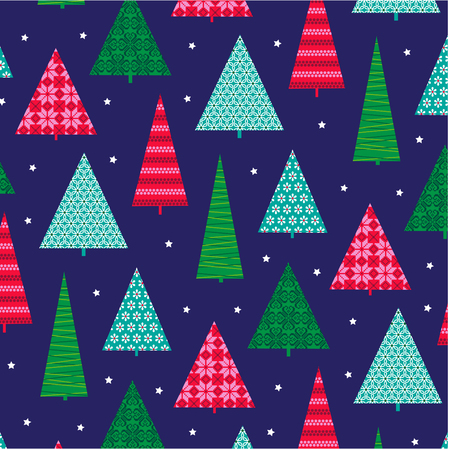 Christmas trees with patterns vector background design