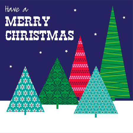 Greeting cards template with Christmas tree on different color design Illustration
