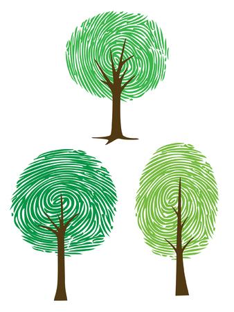 세 지문 벡터, 클립 아트 나무