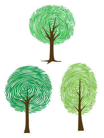 Three thumbprint vector, clipart trees