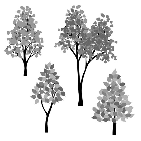 Hand drawn black gray trees vector clipart