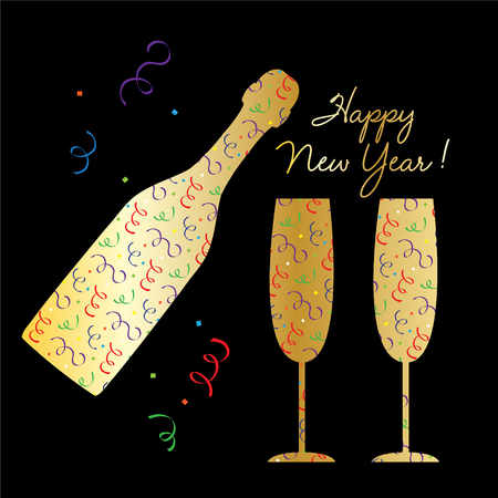 happy new year gold champagne bottle and glasses silhouette with confetti pattern vector graphic Illustration