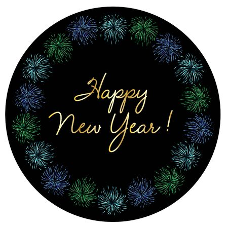 Gold happy new year typography in colorful fireworks circle frame vector