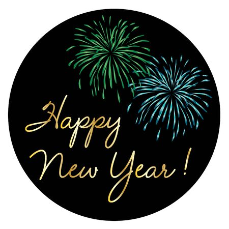 Gold happy new year with colorful fireworks on black circle vector graphic
