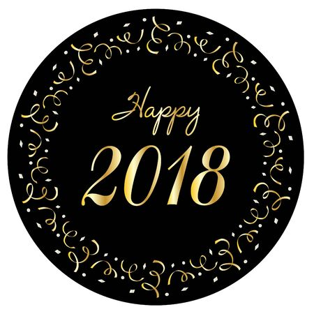 Happy 2018 vector graphic in silver gold confetti circle frame on black