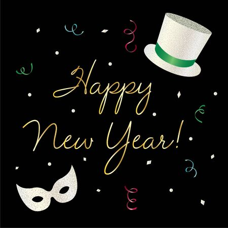 Happy new year graphic with silver glitter top hat and mask vector