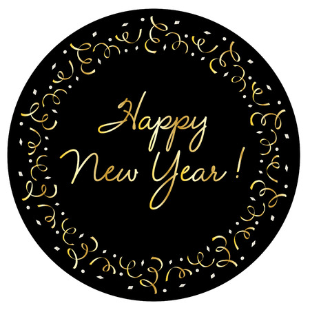 Happy new year in silver gold confetti frame on black vector graphic
