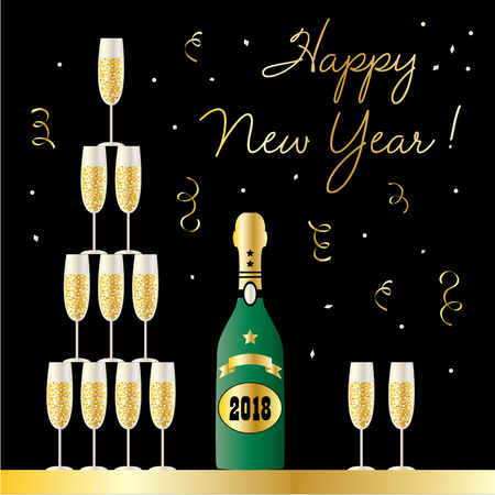 Happy new year champagne bottle and stacked glasses vector graphic Ilustrace
