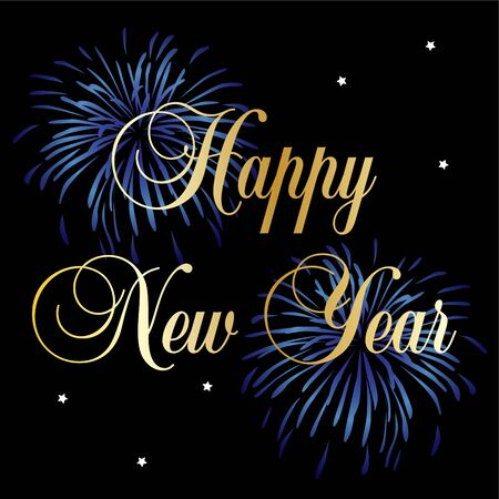 Gold happy new year typography vector graphic with blue fireworks and stars