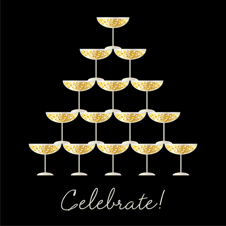 Stacked champagne glasses with celebrate typography vector graphic