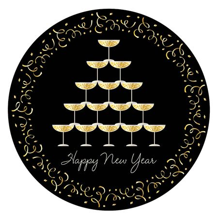 Stacked champagne glasses vector graphic with gold confetti circle frame on black Ilustrace