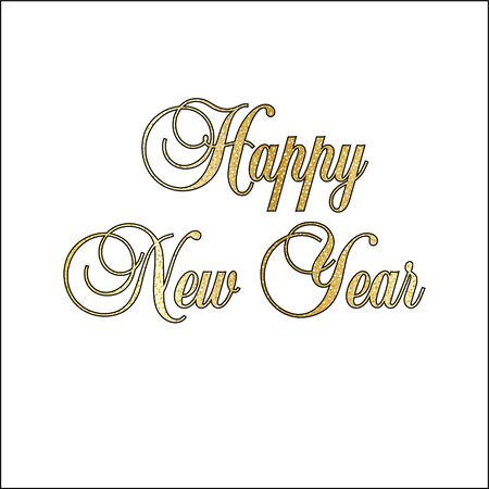 Gold glitter ornate happy new year typography vector graphic