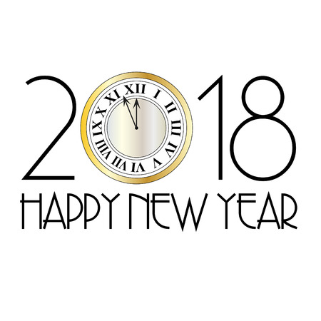 Happy new year metallic clock art decoration. Ilustração