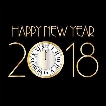 Happy new year 2018 with clock on black art deco vector graphic. Çizim