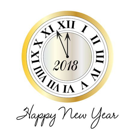 Happy new year typography with metallic clock vector graphic. Ilustrace