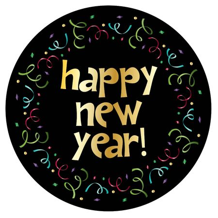 Happy new year in colorful confetti circle frame vector clipart Ilustrace