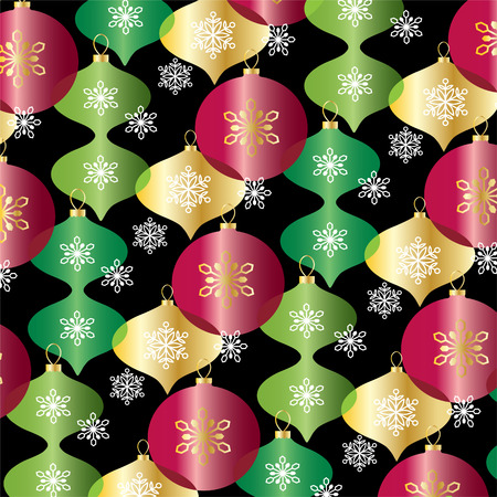 red green gold overlapping Christmas ornaments vector background pattern Illustration