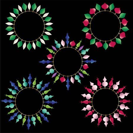 Christmas ornament circle frames vector clipart. Ilustrace