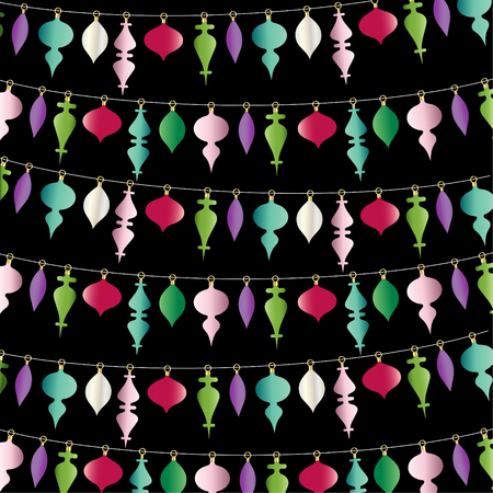 Hanging Christmas ornaments vector pattern stripe on black.