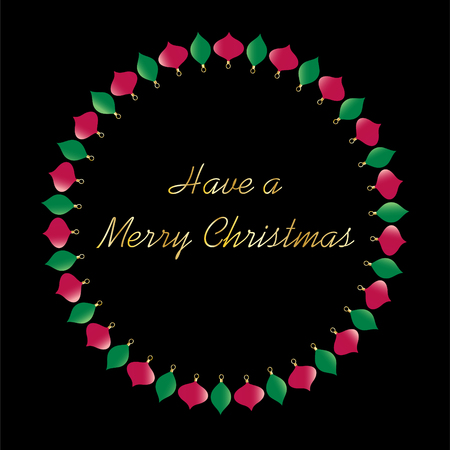 Merry Christmas typography in ornament circle vector graphic on black.