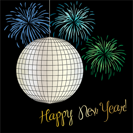 new years eve graphic with disco ball and fireworks vector graphic