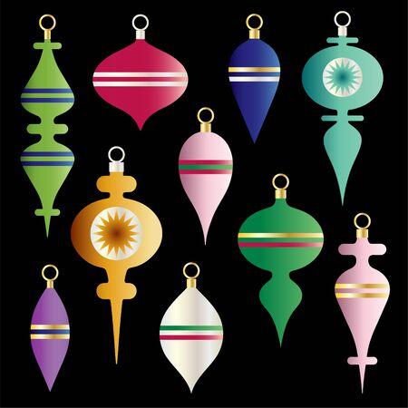 metallic gradient christmas ornaments vector clipart set