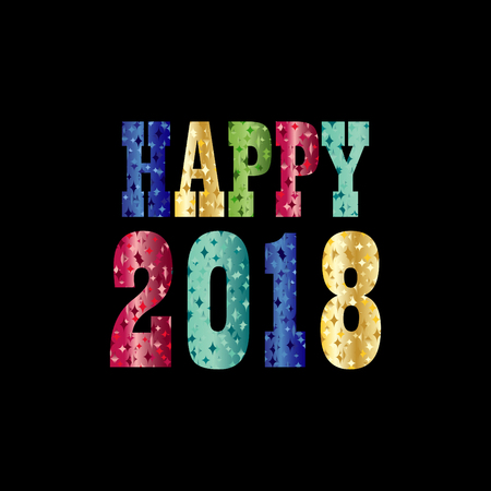 Happy 2018 with colorful sparkle typography vector graphic on black Ilustrace