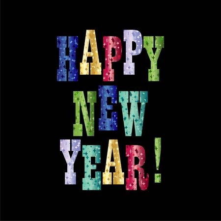 happy new year with colorful sparkle typography vector graphic on black