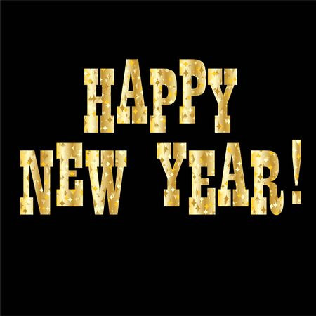 Happy new year in gold sparkle typography design on black background.