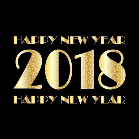 Metallic gold white confetti and stars 2018 lettering graphic design. Ilustrace