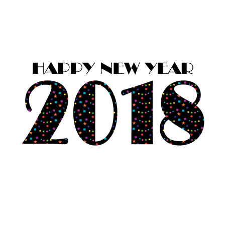 Happy New Year 2018 typography graphic with confetti stars design.