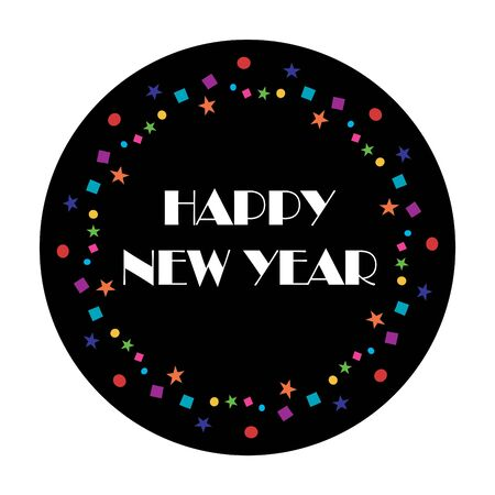 Happy New Year typography with colorful confetti on black circle pattern illustration.